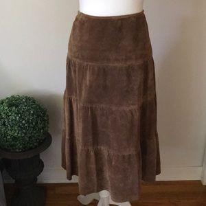 Brown 100% Suede Prairie Cowgirl Western Skirt
